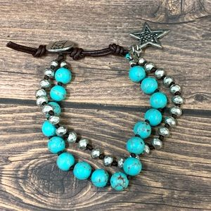 Lucky Brand Leather and Turquoise Bracelet
